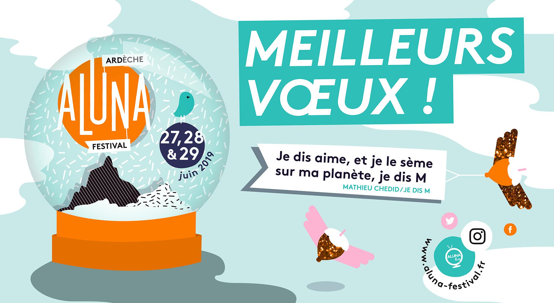 Carte voeux 2019 Ardèche Aluna Festival